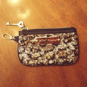 BETSEY JOHNSON GOLD BLK SILVER SEQUINS COIN PURSE